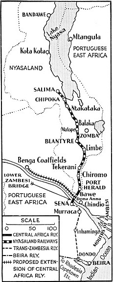 Map of the Nyasaland Railways, the Central Africa Railway and the Trans-Zambesia Railway