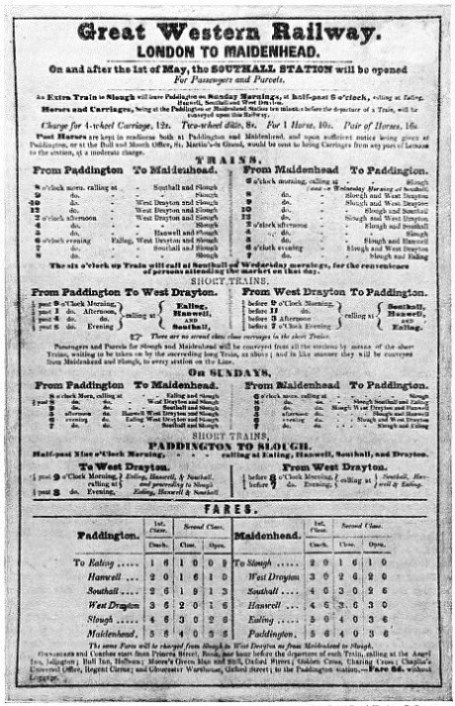 IN MAY, 1839, as indicated in this early Great Western Railway time-bill, frequent trains ran between Paddington and Maidenhead