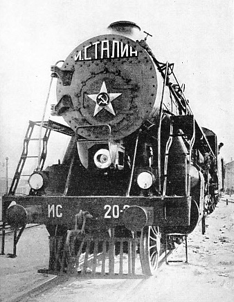 "A front view of the ""Joseph Stalin"", a new 2-8-4 express locomotive on the Soviet lines"