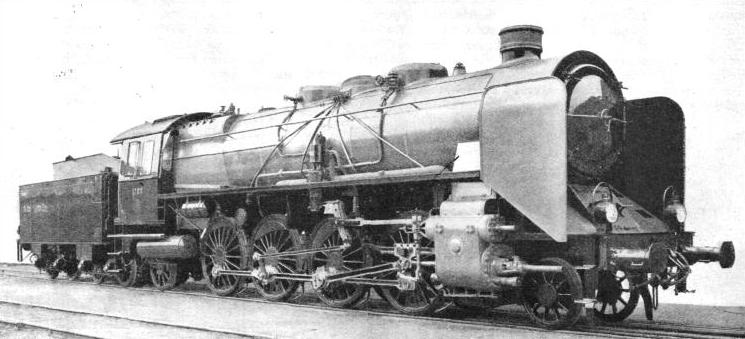 This 2-8-2 express engine, operating on the German State Railways, is an excellent example of Continental locomotive design