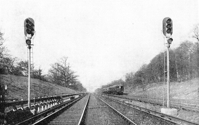 NEW AUTOMATIC SIGNALS govern the Southern Railway's Main Up Line between Balcombe Tunnel and Three Bridges in Sussex.