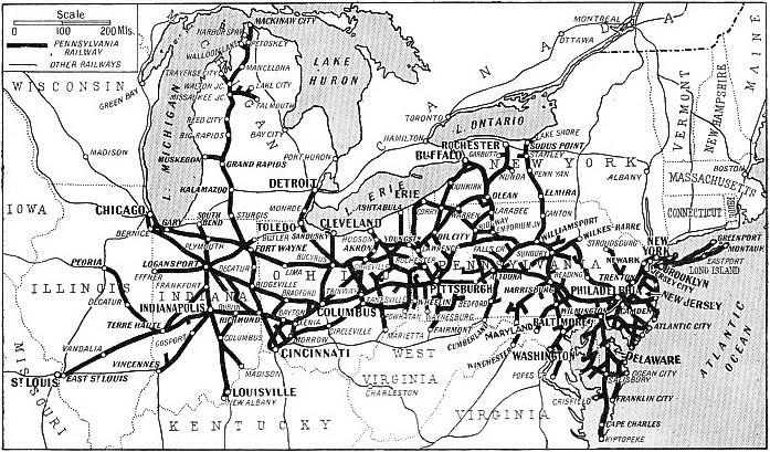 Map of the Pennsylvania Railroad system