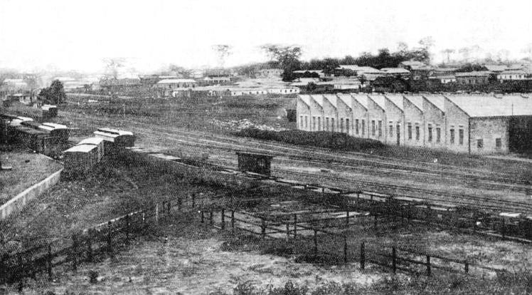 A general view of Kumasi, the northernmost point of the railway, showing the railway sidings