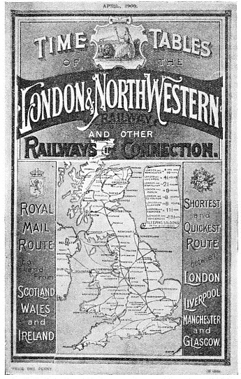 RED AND BLACK are the dominant colours of this London and North Western Railway time-table for April, 1900