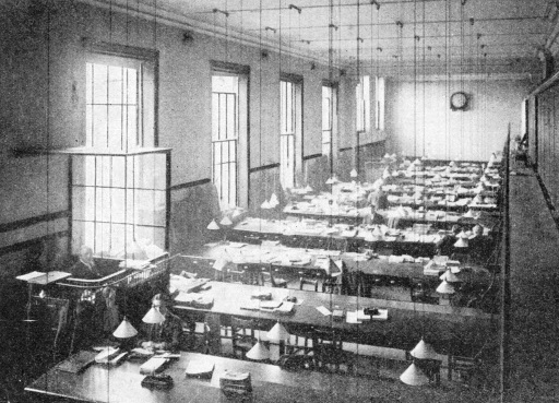 A large office room in the Railway Clearing House