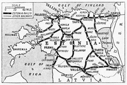 Map of the Estonian State Railways in 1935