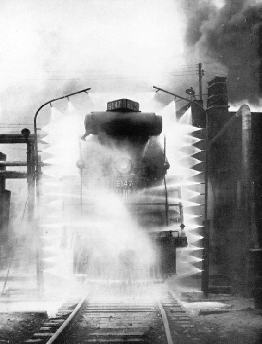Washing a loco on the Canadian National Railway