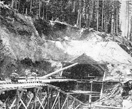 one of the entrances to the Connaught Tunnel during construction