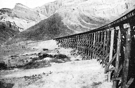 TRESTLE BRIDGES are a common feature of this remarkable desert railway across the Death Valley