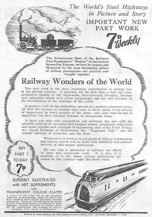 reverse of the flyer promoting the publication of railway wonders of the world