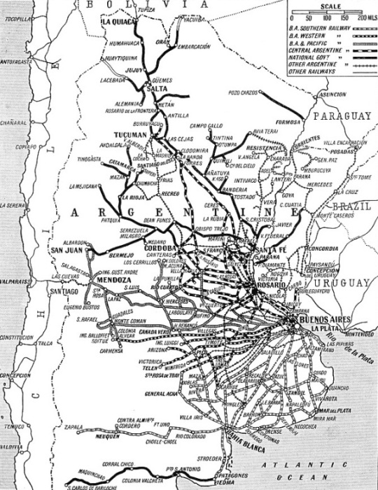 By Rail In The Argentine - Argentine railway map