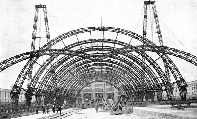 A remarkable photograph taken of the roof of Milan Central Station while it was being built