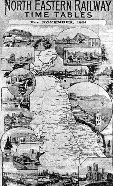NOTABLE PLACES along the route are illustrated on the cover of the North Eastern Railway's time-table for November, 1891