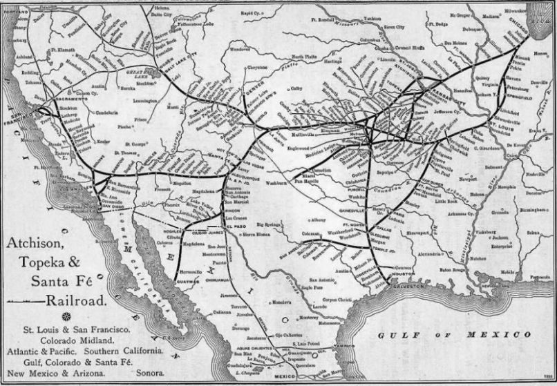 Atchison Topeka Santa Fe Railway - Atchinson topeka and santa ferailroad on the us map