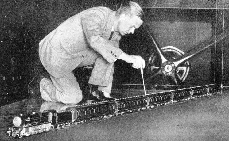 ARTIFICIAL HURRICANES of 120 miles an hour are created in wind tunnels for train tests at the National Physical Laboratory, Teddington