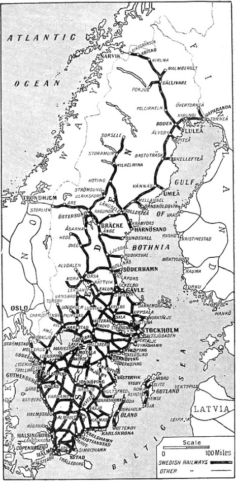 Map showing the railways of Sweden