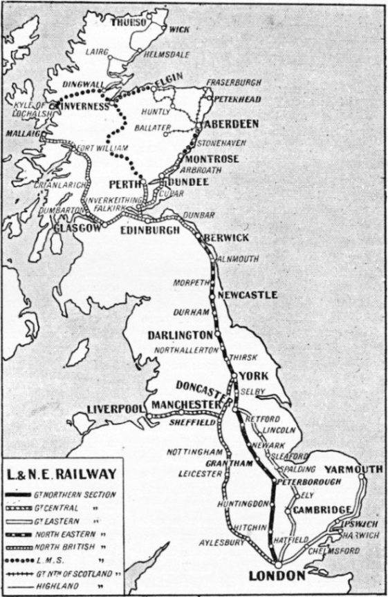 Map of the LNER system