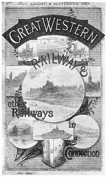 PLACES OF INTEREST are depicted on the cover of this Great Western Railway time-table for the summer of 1889