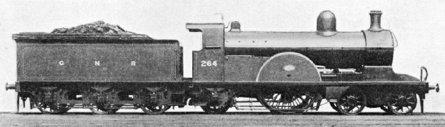 A 4-2-2 express engine of the type designed by H A Ivatt for the GNR