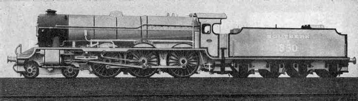 Side view of the new Southern Railway Locomotive No. 850, Lord Nelson