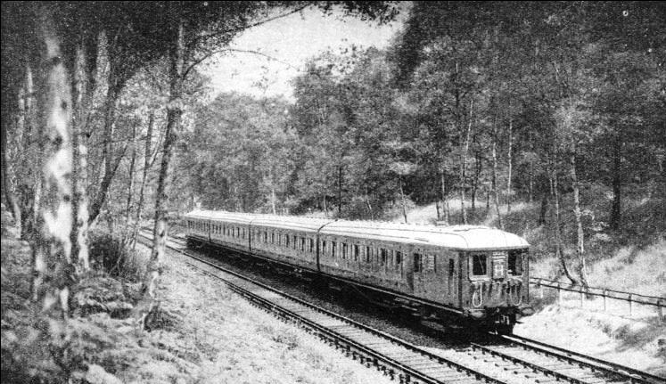 A Southern Railway electric train on the London to Reigate line