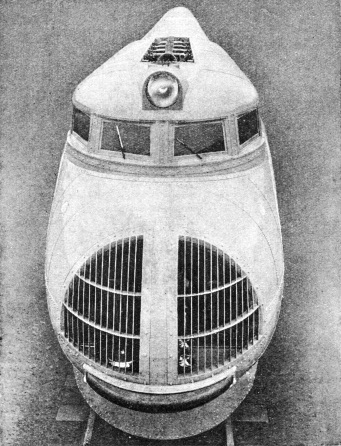 The rounded nose of the Union Pacific streamlined train