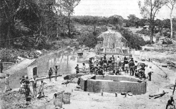 The foundations of the Pimmi railway bridge during construction