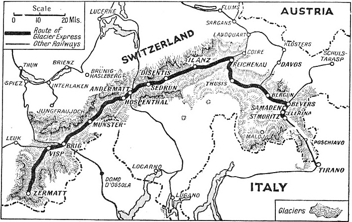 The route of the Glacier Express