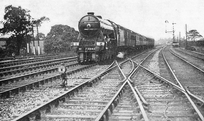 An express of the LNER running at speed