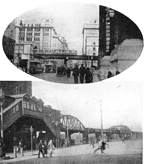 THE STEEL FRAMEWORK of the Liverpool Overhead Railway carries the lines some 16 ft above the road.