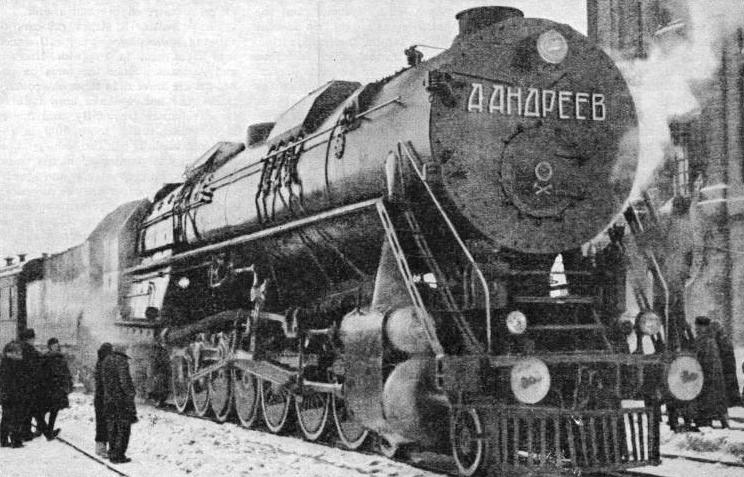 EUROPE'S MOST POWERFUL GOODS ENGINE on its arrival in Moscow in January 1935