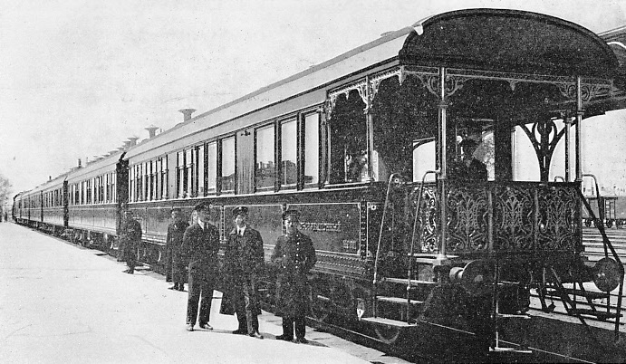 A luxury train containing sleeping cars at the station of Harbin, in the State of Manchukuo