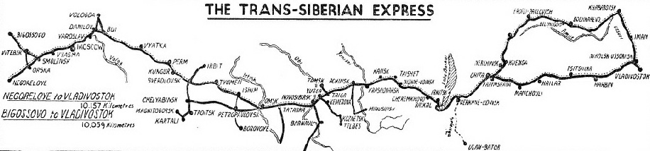 The route of the Trans-Siberian Express