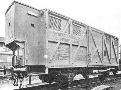 A 20-ton covered Belgian train ferry wagon used on the Harwich-Zeebrugge train-ferry service.