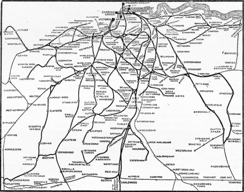 The great network of the Southern Railway's suburban area.