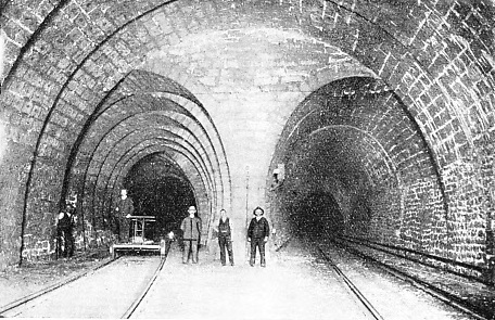 THE FIRST TUNNEL contained a station about half-way.