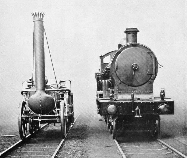 "FRONT VIEWS OF THE "" ROCKET "" AND THE 5,000th ENGINE BUILT AT CREWE"